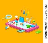 illustration of online shopping ... | Shutterstock .eps vector #179843732