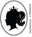 girl's head  crown and tail on... | Shutterstock .eps vector #179848592