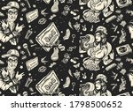 hip hop music seamless pattern. ... | Shutterstock .eps vector #1798500652