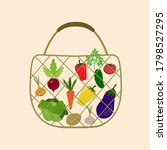 reusable bag  string bag with... | Shutterstock .eps vector #1798527295