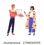 male courier carrying box with... | Shutterstock .eps vector #1798534555