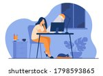 woman working at night in home... | Shutterstock .eps vector #1798593865
