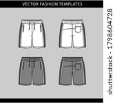 Short Fashion Flat Sketch...