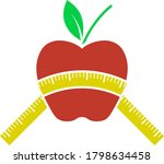 icon of apple with measure tape....