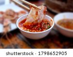 thai barbecue grill pork on hot ...   Shutterstock . vector #1798652905