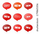 red stickers with new title... | Shutterstock .eps vector #179865356