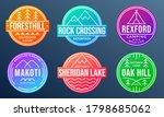 camp badge set. camping emblems ... | Shutterstock .eps vector #1798685062