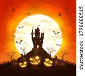 smiling pumpkins with dark... | Shutterstock . vector #1798688515
