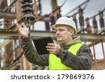 electrical engineer gesturing... | Shutterstock . vector #179869376