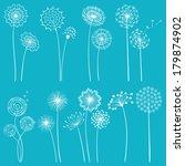 set of hand drawn dandelions...   Shutterstock .eps vector #179874902