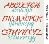 the alphabet in calligraphy... | Shutterstock .eps vector #179875532