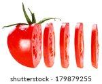 sliced tomato isolated on white ... | Shutterstock . vector #179879255