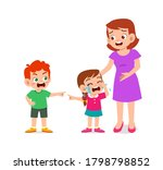 sad little kid boy and girl cry ... | Shutterstock .eps vector #1798798852
