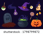 happy halloween. set of... | Shutterstock .eps vector #1798799872