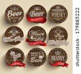 set of wooden casks with... | Shutterstock .eps vector #179885222
