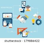 vector web design process  ... | Shutterstock .eps vector #179886422