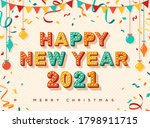 happy new year 2021 card or...   Shutterstock .eps vector #1798911715