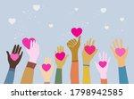 doodle hands up. hands holding... | Shutterstock .eps vector #1798942585