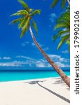 tropical sand beach with palm... | Shutterstock . vector #179902106