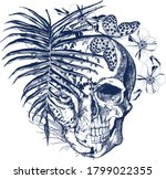 blue skull and leopard face ... | Shutterstock .eps vector #1799022355