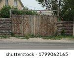 Closed Brown Rural Wooden Gate...