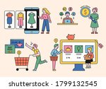consumers are shopping online.... | Shutterstock .eps vector #1799132545