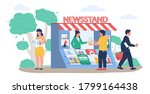 Street newsstand with saleswoman selling newspapers and magazines, man buying and woman reading fresh news, press or journal, vector flat illustration. Newspaper stand kiosk concept.
