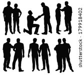set of black silhouettes happy... | Shutterstock .eps vector #179918402