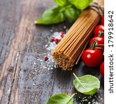 spaghetti and tomatoes with... | Shutterstock . vector #179918642