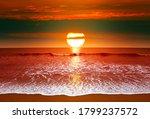 epic sunset over ocean  sea... | Shutterstock . vector #1799237572