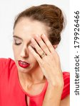 young woman suffering a headache or pain  - stock photo