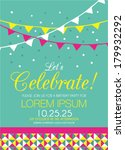 Happy Birthday Invitation Card with Flags in Vector