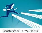 bureaucracy. woman jumps over...   Shutterstock .eps vector #1799341612