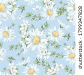 Seamless Pattern Of Daisies And ...