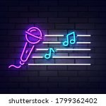 microphone neon sign. sign of... | Shutterstock .eps vector #1799362402