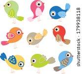 set of cute birds | Shutterstock .eps vector #179938118