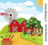farm scene with girls picking... | Shutterstock .eps vector #1799387992