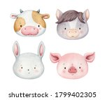 Set Of Cute Watercolor Animal...