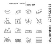 homemade donuts icons set. deep ... | Shutterstock .eps vector #1799423938