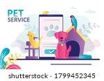 animals sitting near mobile... | Shutterstock .eps vector #1799452345