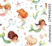 seamless watercolor pattern... | Shutterstock . vector #1799496355