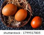 Brown Eggs In Nest  Raw Chicken ...