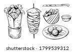 sketch of doner kebab. fast... | Shutterstock .eps vector #1799539312