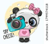 cute cartoon panda with a...   Shutterstock .eps vector #1799574118