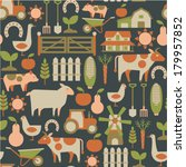 seamless pattern with farm... | Shutterstock .eps vector #179957852