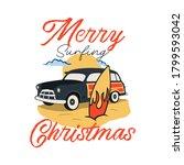 merry surfing christmas badge... | Shutterstock .eps vector #1799593042