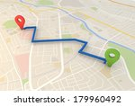 road map with pin pointers 3d... | Shutterstock . vector #179960492