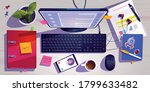top view of workspace with... | Shutterstock .eps vector #1799633482