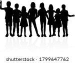 dancing children silhouettes ... | Shutterstock . vector #1799647762
