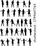 dancing children silhouettes ... | Shutterstock . vector #1799647765